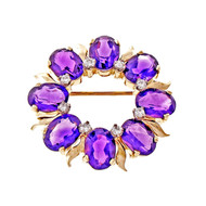 Tiffany & Co Red Purple Amethyst Pin Circle Design Circa 1960 Diamond