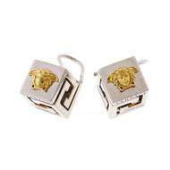 Estate Versace Cube Earrings Silver & 18k Yellow Gold