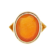 Antique 1900 Carved Carnelian Hardstone Ring 14k Yellow Gold Intaglio Style