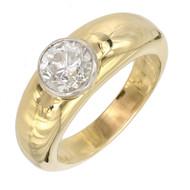 Transitional European Cut Men's Diamond Ring Heavy 18k Platinum Bezel Handmade