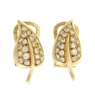 Estate German Designer Geschutzt Clip Post Earrings Flower Diamond Design