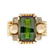 Retro 1940 Green Tourmaline Ring 14k Pink Gold Diamond