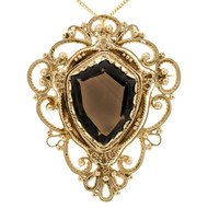 Vintage 1950 Smoky Quartz Shield Shape Pin Pendant 14k Yellow Gold