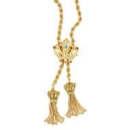 Vintage 1950 Crown Tassel Pendant Turquoise Garnet Rope Chain 14k