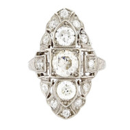 Estate Art Deco 1900s Old European Diamond Platinum Top 18k White Shank Ring