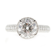 Peter Suchy Engagement Halo Diamond Ring Platinum Ideal Cut