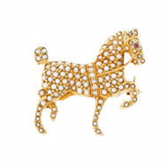 Vintage Prancing Horse Seed Pearl Diamond Pin 14k Yellow Gold