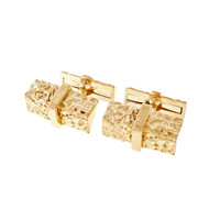 Vintage Bark Cuff Links Angular Two Sided 18k Yellow Gold