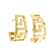 Estate Greek Key Hoop Earring Post Top 14k Yellow Gold