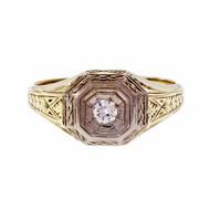 Men's Art Deco 1930 Diamond Ring 14k Yellow And White Gold