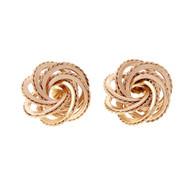 Estate Love Knot Earrings Textured & Shiny 14k Yellow Gold