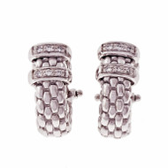 Estate Fope Earrings 18k White Gold Diamond Clip Post