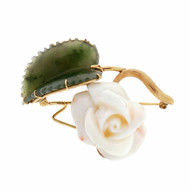 Estate Natural Coral & Jade Flower Pin 14k Yellow Gold