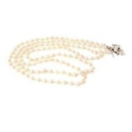 Estate 8 To 8.5mm Double Strand Cultured Pearl Necklace White Gold Diamond Catch