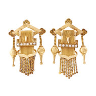 Estate Victorian 1880 Earrings Tassel Buckle Natural Pearl 18k Yellow Gold