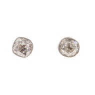 Old Mine Brilliant Cut Diamond Earrings Platinum Cushion GIA Certified