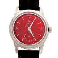 Omega Seamaster Automatic Steel Wrist Watch Custom Red Dial