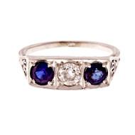 Antique 1920 Platinum Top White Gold Ring Old European Cut Sapphire Diamond