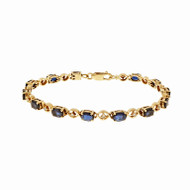 "Estate Oval Sapphire Diamond Tennis Bracelet 14k Yellow Gold ""XO"" Design"