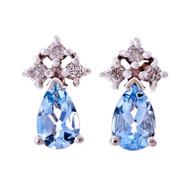 Estate Pear Aqua Diamond 14k White Gold Earrings