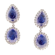 Peter Suchy Tanzanite Gem Cabochon Dangle Earrings Fine Diamonds 18k White Gold