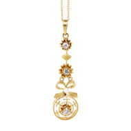 Estate Bow Dangle Diamond Pendant 14k Yellow Gold Natural Pearl