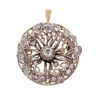 Vintage Silver 14k Diamond Pin Pendant Old Mine Cut Yellow Gold