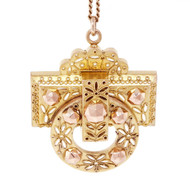 Victorian Archeological Pin Pendant 14k Pink & Green Gold