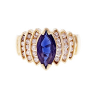 Estate Marquise Sapphire Diamond Ring Deep Blue 14k Yellow Gold