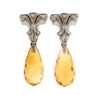 Vintage 1950 12.00ct Citrine Briolette 14k White Gold Diamond Dangle Earrings