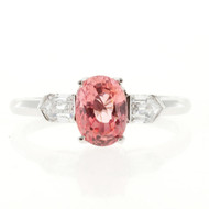 Vintage Art Deco 2.14ct Pink Orange Padparadscha Sapphire Diamond Platinum Ring