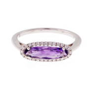 Across The Finger Amethyst Ring Diamond Halo 14k White Gold