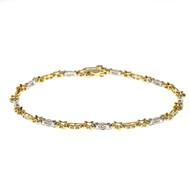 """X"" Style 1.00ct Full Cut Diamond 14k Gold Bracelet"