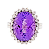 Amethyst Domed Faceted Ring Diamond Halo 14k White Gold
