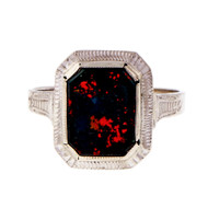 Vintage Retro 1940 Bloodstone Ring Octagonal 14k White Gold