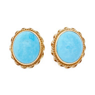 Vintage 1960 Turquoise Pierced Earrings 14k Yellow Gold