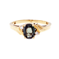 Alexandrite Natural Certified Ring 14k Yellow Gold Diamond