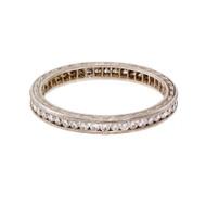 Estate Milgrain Beaded Diamond Eternity Band Ring Platinum