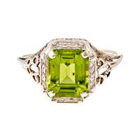 Vintage Filigree 1940 Peridot Emerald Cut Ring 14k White Gold