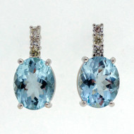 Vintage 1950 4.50ct Aqua Diamond 14k White Gold Earrings