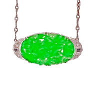 Art Deco 1935 Natural Jadeite Jade Pendant Platinum Diamond
