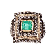 Antique 1850 Natural Emerald Rose Cut Diamond Ring Rink Gold Silver