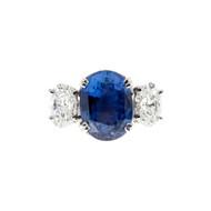 Peter Suchy Oval Natural Violet Blue Sapphire Engagement Ring Platinum Diamond