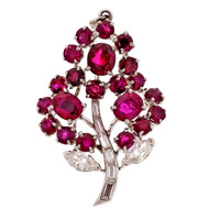 Vintage 1960 Platinum No Heat GIA Ruby Flower Diamond Pendant