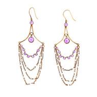 Victorian Revival Amethyst Pearl Dangle Earrings