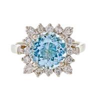 Vintage Cocktail Ring 1960 Natural Aqua Platinum Diamond