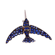 Swallow Pavé Sapphire Clip Pin In 18k White Gold