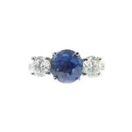 Peter Suchy Old European Sapphire Diamond Platinum Engagement Ring
