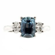 Peter Suchy Gray Blue Cushion Sapphire Engagement Ring Three Stone