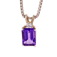 Amethyst Diamond Pendant 14k White Gold